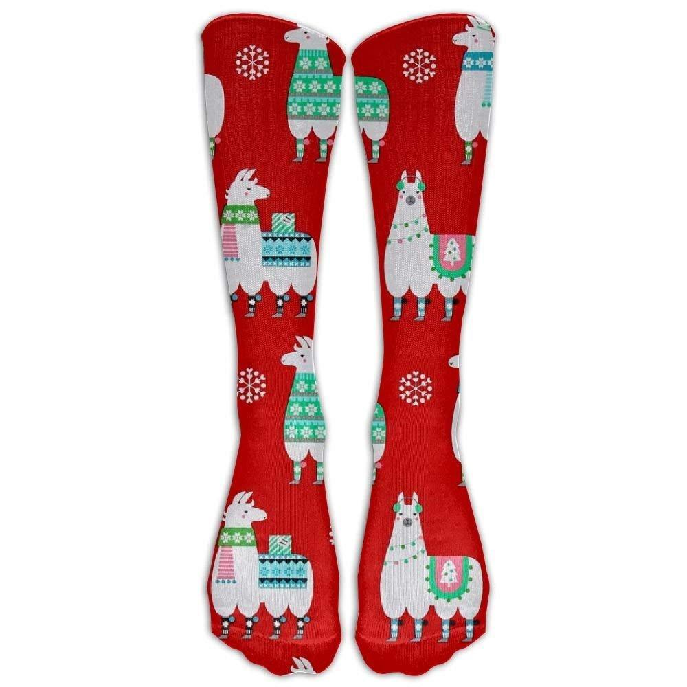Style Unisex Socks Casual Knee High Stockings Llama Red Pattern Cotton Socks One Size