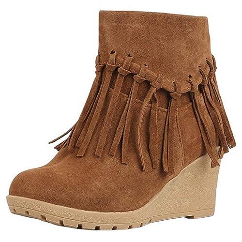 Melady Mujer Mode Tacon de Cuna Botiness Cremallera Botas Media Anti-Rutsch Franja Zapatos de Invierno Tacon Alto Brown Tamaño 44: Amazon.es: Zapatos y ...