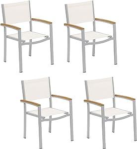 Oxford Garden - Travira Collection Sling Armchair - Natural Sling - Natural Tekwood Armcaps - Set of 4