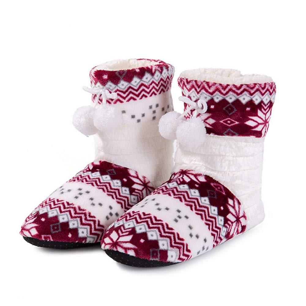 KOMEISHO Mujeres Damas niñas Interior Zapatilla botín Zapatos Inicio Botas de Invierno cálido casa Botines Negro Azul púrpura Vino tamaño Libre (Color ...