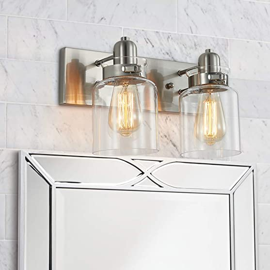 Bestier Modern Brushed Nickel 2-Light Bath Bathroom Vanity Wall Mounted Light Wall Sconce 2 E26 LED Bulbs Required Width 7 inch Height 8.3 inch