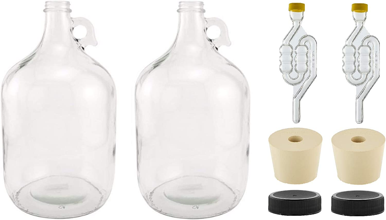 North Mountain Supply 1 Gallon Glass Fermenting Jug with Handle, 6.5 Rubber Stopper, Twin Bubble Airlock, Black Plastic Lid (Set of 2)