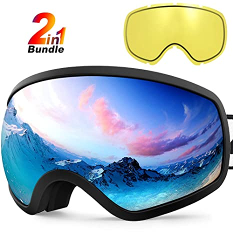 4a08aa956c Amazon.com   Zionor X10 Ski Snowboard Snow Goggles OTG for Men Women Youth  Anti-Fog UV Protection Helmet Compatible   Sports   Outdoors
