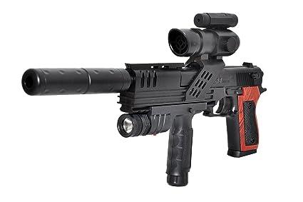 Toyshine 18 Inches BB Gun Toy with Silencer, Laser, Torch