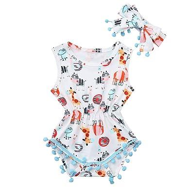 96fec1a6c1fc Amazon.com  Cute Baby Girl Boys Jumpsuit Sleeveless Cartoon Tassel Bodysuit  with Headband 2Pcs  Clothing