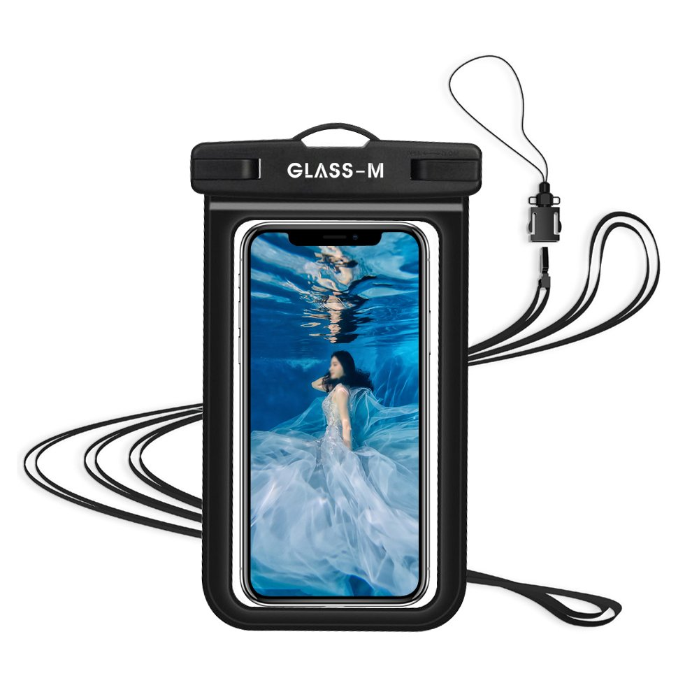 GLASS-M Universal Waterproof Case, Phone Dry Bag Pouch with Neck Strap for iPhone X/8/7/6/6S Plus, Samsung Galaxy S9/S8/S7 Edge/Note 8 6 5 4, Google Pixel 2 XL up to 6.0\