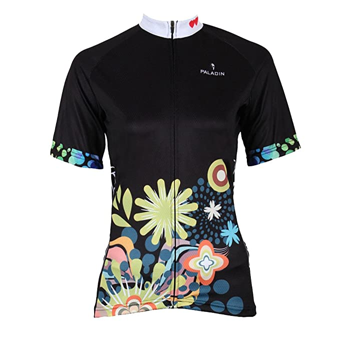 95ec6aee9 QinYing Flowers Printing Short Sleeve Bicycle Cycling Jersey for Women  Black S
