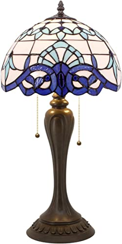 Tiffany Lamp White Blue Baroque Stained Glass Shade Bedside Table Lighting W12H22 Inch S003B WERFACTORY Lamps Lover Friends Kids Parents Living Room Bedroom Study Desk Antique Style Art Crafts Gift
