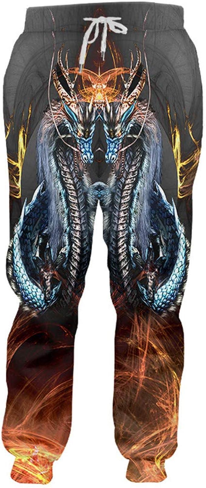 Hombres impresión Fresca del dragón del Fuego 3D pantalón ...