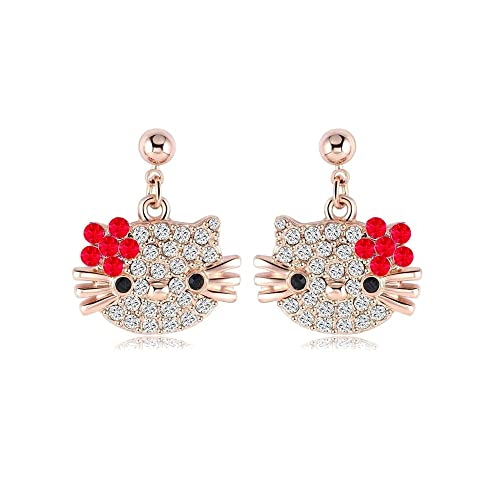 9da5e067d Amazon.com: Hello Kitty Earrings - Rose Gold with Crystals - Mall of ...