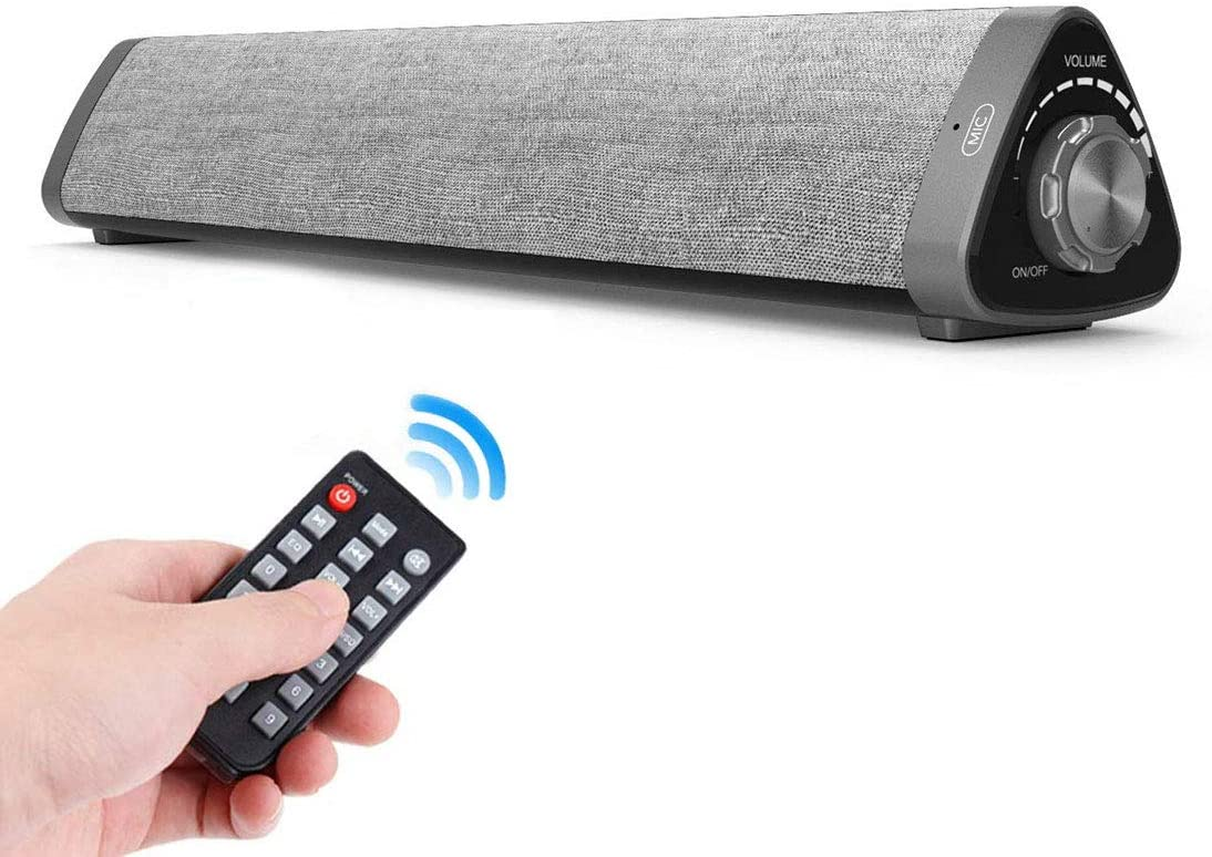 Sound Bar, ASIYUN Wired and Wireless Bluetooth 5.0 Audio Speaker Surround Sound Home Theater Built-in Subwoofers for TV PC Phones Tablets with Remote Control Support Device with AUX RCA USB Function