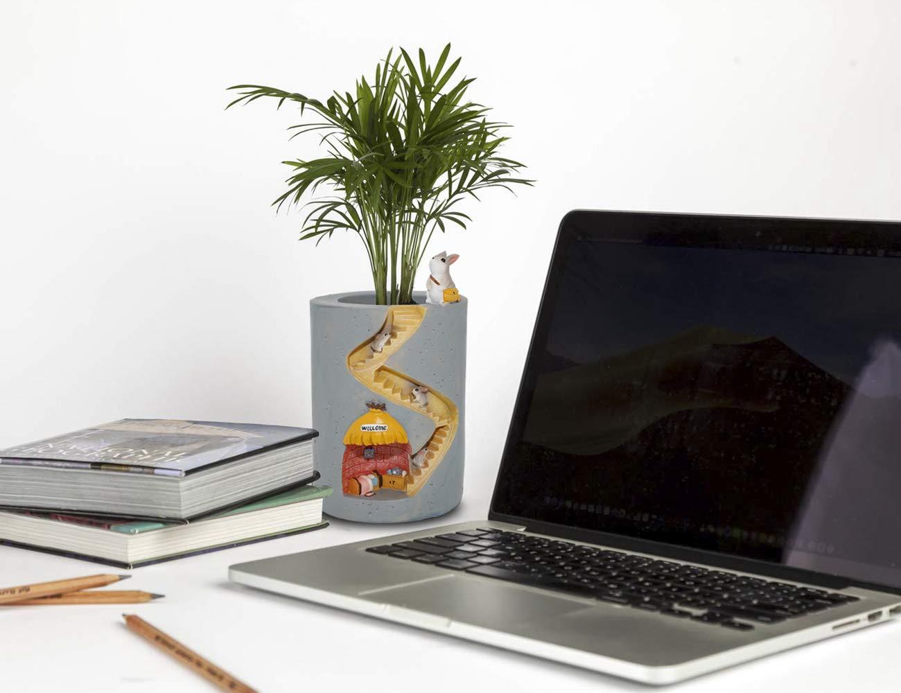 ChasBete Niedlichen Blument/öpfe Indoor-Kaninchengarten Pflanzer Kreative Harzpflanzen T/öpfe Pinsel Topf Kleine Dekorative Wiederverwendbare