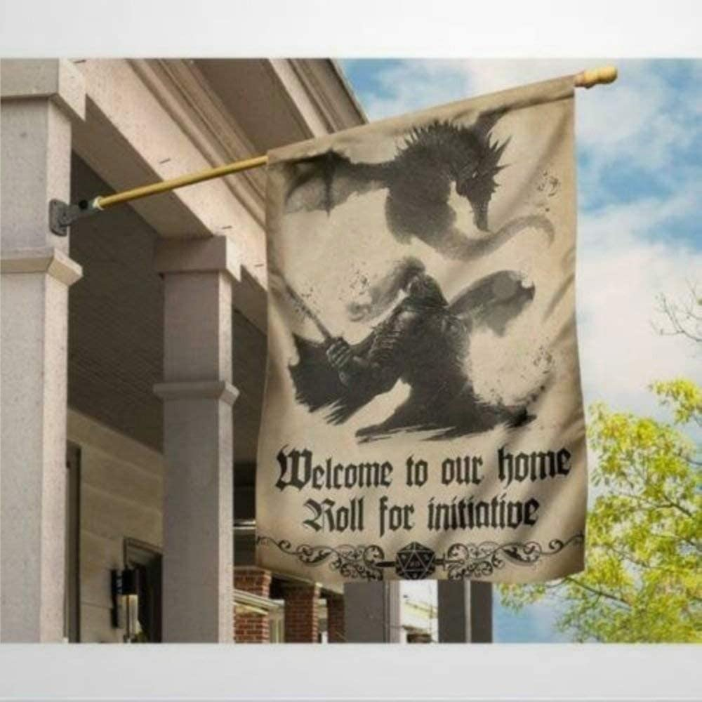 "DONL9BAUER Dragon Welcome to Our Home Roll for Initiative Double Sided Garden Flag 12""x18"", Yard Outdoor Decoration Seasonal Banner for Patio Lawn Home Decor"