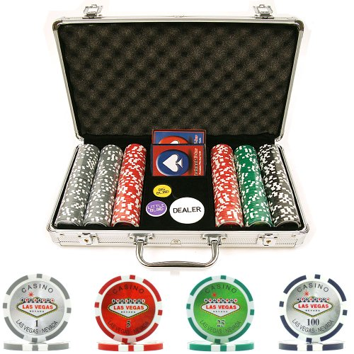 Trademark Poker 300 15-Gram Clay Welcome to Las Vegas Chip Set with Aluminum Case (Poker Clay Vegas Las)