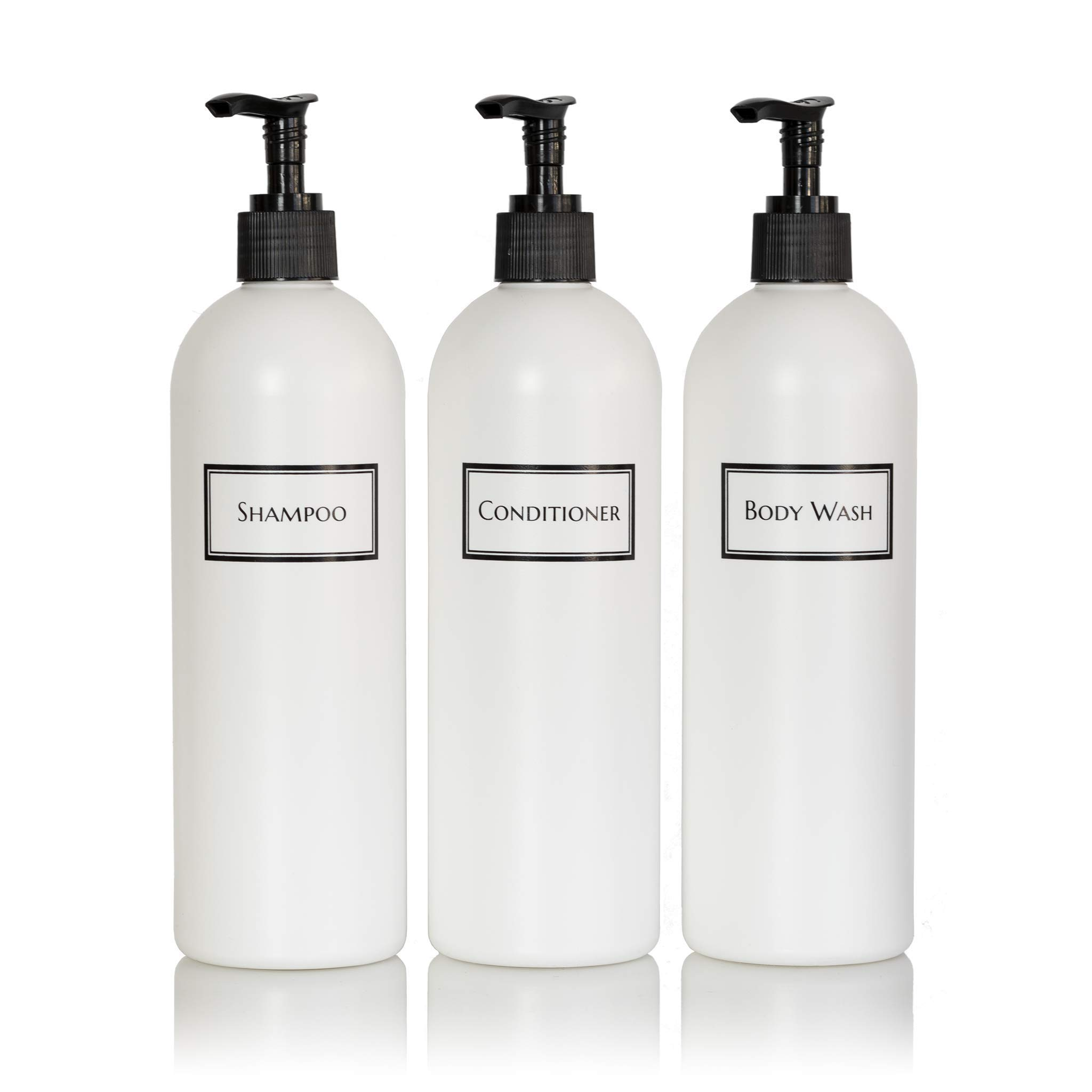 Artanis Home Silkscreened Empty Shower Bottle Set for Shampoo, Conditioner, and Body Wash, 16 oz 3-Pack, White (Black Pumps)