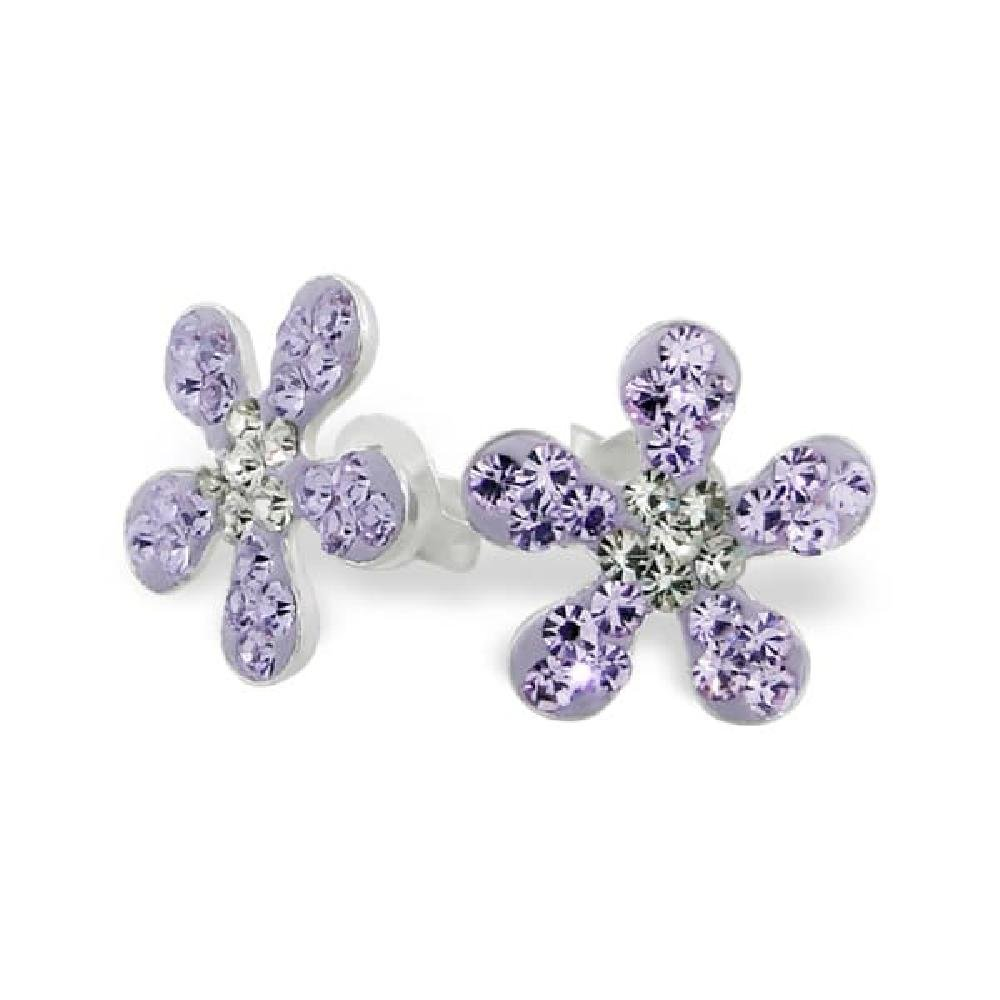 So Chic Jewels Childrens 925 Sterling Silver Flower Ear Studs