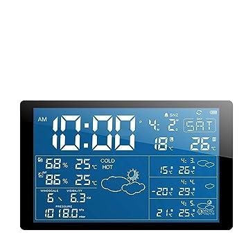 SMAERTHYB Sensor De Pronóstico Exterior Reloj Despertador Led Digital Reloj Despertador Color Color De Pronóstico: Amazon.es: Hogar