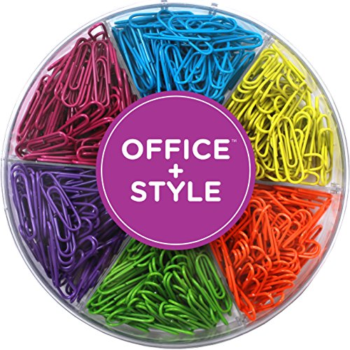 - Decorative Multi-Colored 28 mm Paper Clips for Home & Office, Six Colors for Different Projects in Reusable Organizing Container, 480 pieces, By Office Style