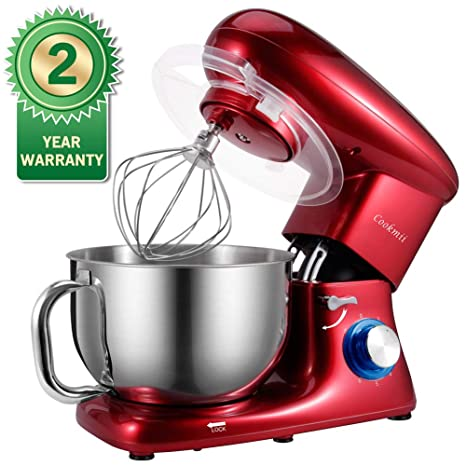 Stand Mixer,Cookmii 660W Tilt-head Electric Kitchen Food Mixer with 5.5QT  Stainless Steel Bowl, Dough Hook, Flat Beater, Whisk,Pouring Shield(Red)