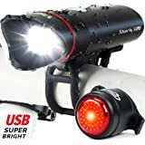 Cycle Torch Shark 500 USB Rechargeable Bike Light – Headlight & Tail Light Set- Fits All Bicycles, Hybrid, Road, MTB, with Quick Release