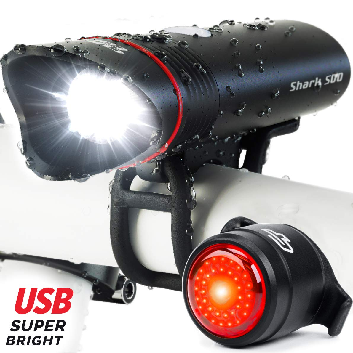 TTKY Bike Light Set,1200 Lumens USB Rechargeable Bicycle Lights,6 Modes 4000mAh Waterproof LED Headlight Mountain Bike Light,Safety /& Easy Mount Cycling Front Light /& Rear Light Fits All Bicycles,Road