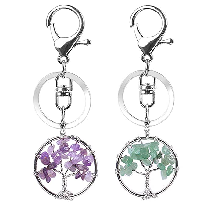 FANCER Tree of Life 2 Pack Tree of Life Keyrings Natural Amethyst Crystal Green Aventurine Stone Multicolored Keychain Gemstone Chakra Keyring for Couple Friend Family Gift