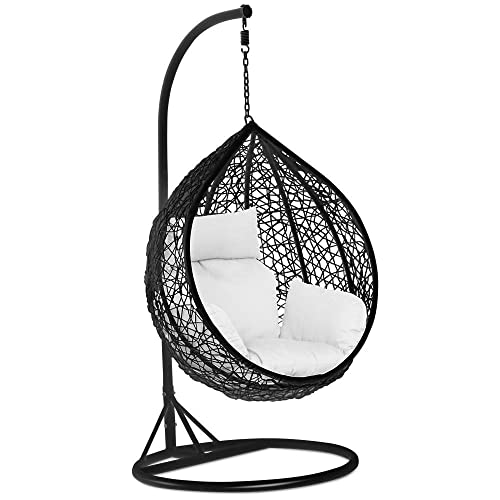 Popamazing Black Rattan Hanging Swing Chair,Stand+Cushion+Cover,150kg Capacity