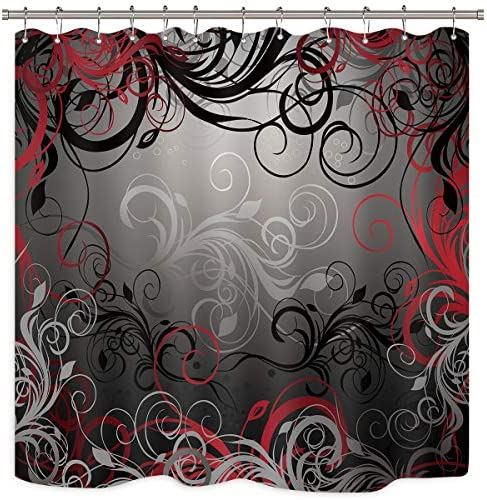 Riyidecor Red And Grey Black Shower Curtain Metal Hooks 12 Pack Leaf Swirl Floral Modern Forest Decor Fabric Set Polyester Waterproof Fabric Bathtub 72wx72h Inch Home Kitchen