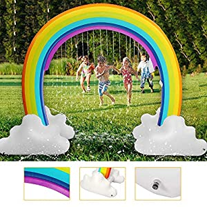 Inflatable Rainbow Yard Summer Sprinkler Toy, Over 6″ Long Outdoor Lawn Rainbow Arch Water Spray Toy for Kid Child Adult Games