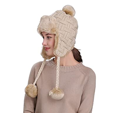 Webla Warm Women Winter Hat Ski Knit Wool Beanie Cap Thick Lining Snow Hat  with Ear 0acd779c08d