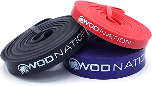 WOD Nation Pull up Assistance Band Set Best for Pullup Assist, Chin Ups, Resistance Band Exercise, Stretch, Mobility Work Serious Fitness - Set of 41 inch Straps 1 Black 1 Red 1 Purple