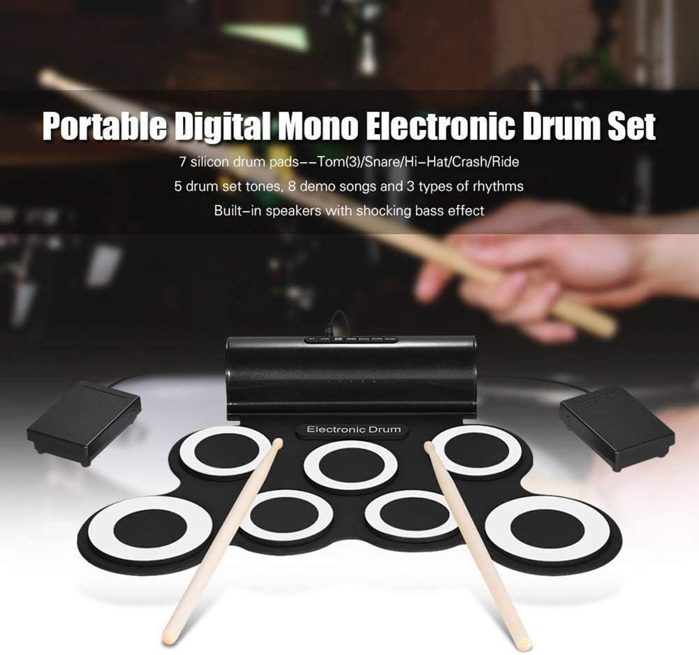 Hihey Drum Electronic 7 Pad E-Drum con Batteria Pieghevole per Altoparlanti Regalo di Natale per Bambini Nero