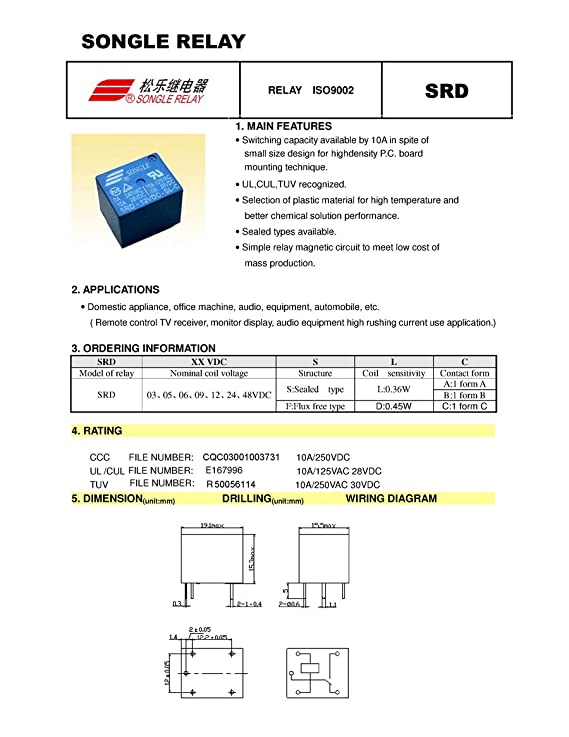 Electronics Salon 5pcs 12v Spdt Relay 250v Ac30v Dc 10 Amp