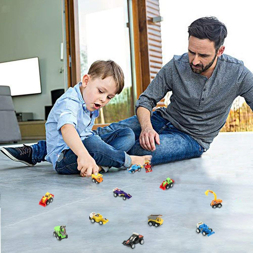 Jerryvon Pull Back Vehicle Set, 12Pcs Mini Construction Vehicles Racing Cars Pull and Go Toys for Kids 3 4 5 Years Old to Play Together