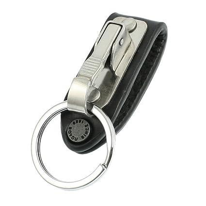TOOGOO(R) Cadena de llave aro de cinturon de cuero falso diseno de llavero de acero inoxidable