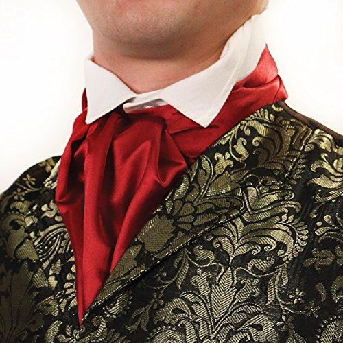 (Victorian Formal Cravat Steampunk Ascot Scarf (Burgundy))