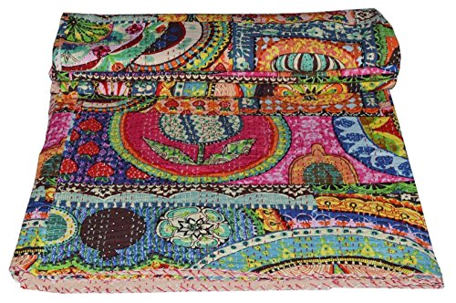 INDIAN CREATIONS PATCHWORK KANTHA QUILT BEDSPREAD INDIAN BLANKET QUEEN SIZE CRAZY COTTON HANDMADE BY (Indian Embroidery Bedspread)