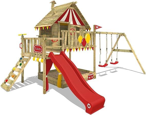 WICKEY Parque infantil de madera Smart Trip con columpio y tobogán rojo, Casa de juegos de jardin con arenero y escalera para niños: Amazon.es: Bricolaje y herramientas