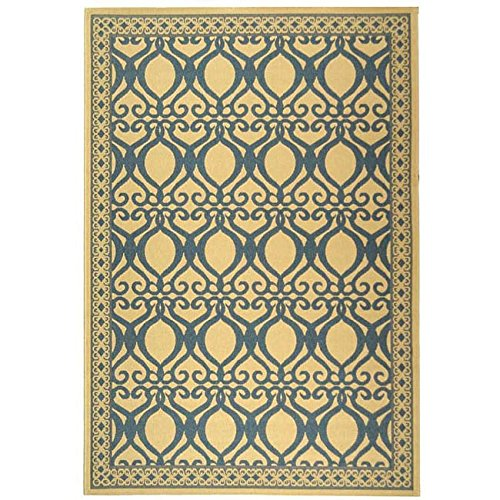 "Safavieh Courtyard Collection CY3040-3101 Natural and Blue Indoor/ Outdoor Area Rug (8'10"" x 11'6"") -  CY3040-3101-8"