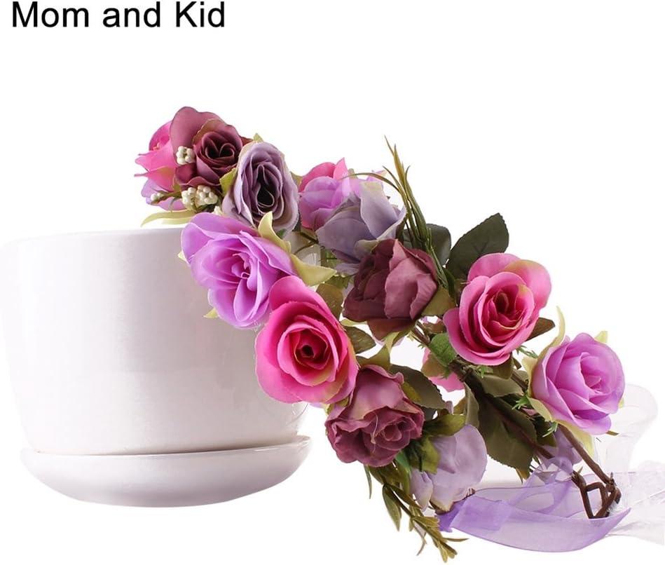 Ssowun 2pcs Couronne de Fleurs pour Filles Femme,Fletion Bohemia Couronne de Fleurs Mariage Garland Bandeau pour Mariage Festival Plage M/ère et Fille