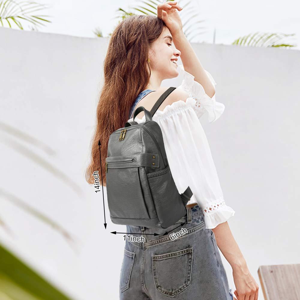 Ryggsäck för kvinnor handväska PU-läder ryggsäck mode dam axelväska satchel konvertibel ryggsäck Grå