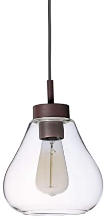Stone Beam Modern Metal and Glass Hanging Ceiling Pendant Chandelier Fixture with Light Bulb – 7.5 x 7.5 x 9.25 Inches, Bronze