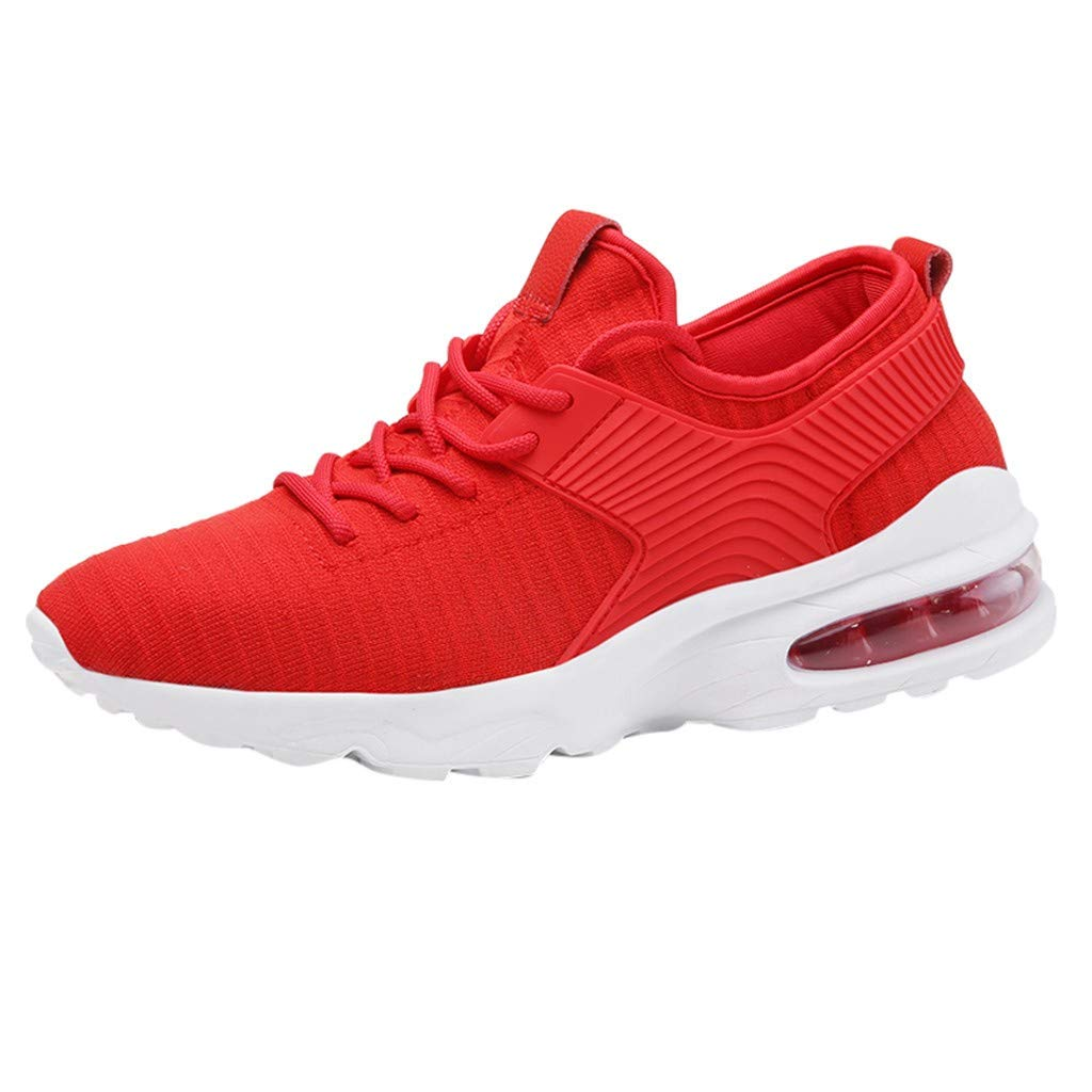 refulgence Men's Lace Up Sneakers Lightweight Breathable Shoes Outdoor Sports Hollow Shoes (Red,US:7) by refulgence