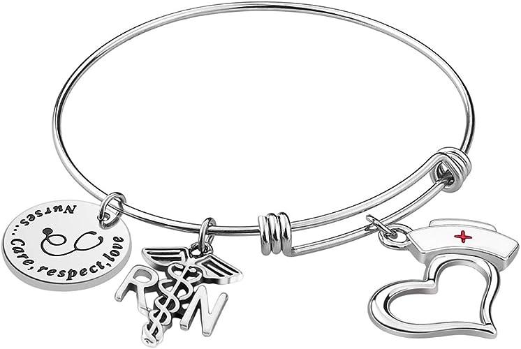 ALoveSoul Nurse Bangle Bracelet Gifts Christmas Birthday Graduation Gift Women Girl Caduceus Angle Charm Bracelet Nursing Jewelry Nurs Bracelet