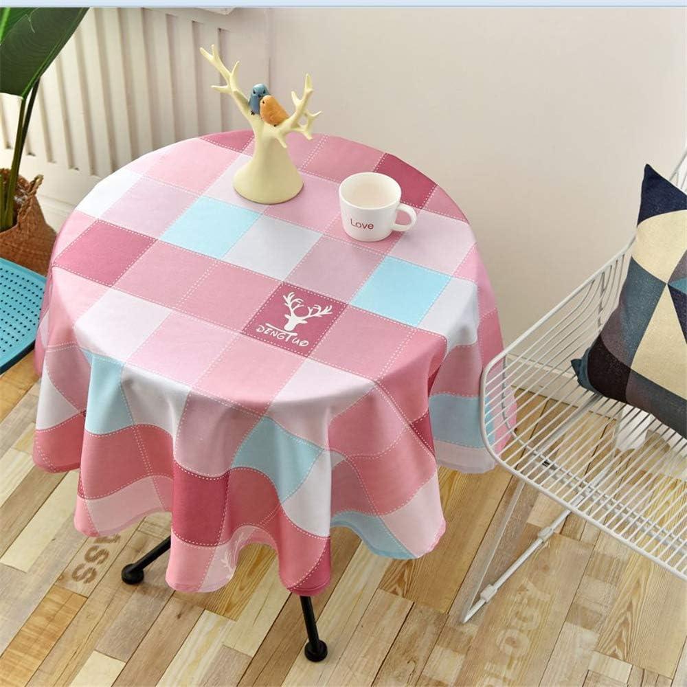 DHHY Mantel Redondo de poliéster Mantel de té Simple Impermeable y Resistente al Aceite Impreso Mantel de decoración del día de Navidad Diámetro W 160 cm / 63 Inch: Amazon.es: Hogar