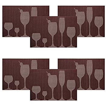 U'artlines TOP Quality Rectangle PVC Dining Room Placemats for Table Heat Insulation Stain-resistant Woven Vinyl Kitchen Placemat Simple Style Eat Mat Vinyl Placemats (6, Coffee)