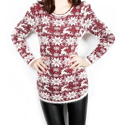 Classic Women's Ugly Sweater, Reindeer Snowflakes Pullover Sweater Dress (Snowflake Dress Sweater)