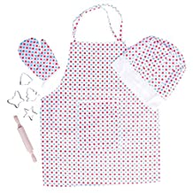 Bigjigs Toys BJ633 Polka Dot Chef's Set for Children-Kids Cooking Apron and Hat