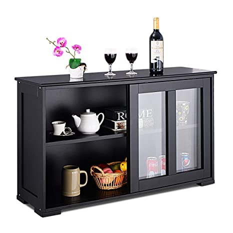 Fantastic Costzon Kitchen Storage Sideboard Antique Stackable Cabinet For Home Cupboard Buffet Dining Room Black Sideboard With Sliding Door Window Interior Design Ideas Helimdqseriescom