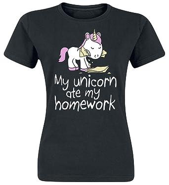 Unicornio My Unicorn Ate My Homework Camiseta Mujer Negro ...